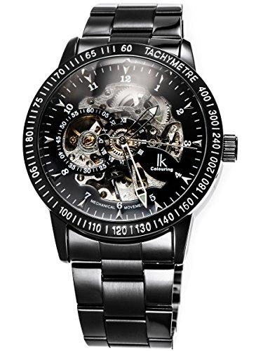 Alienwork IK Herren Damen mechanische Automatik-Uhr schwarz mit Edelstahl Metallarmband Skelett