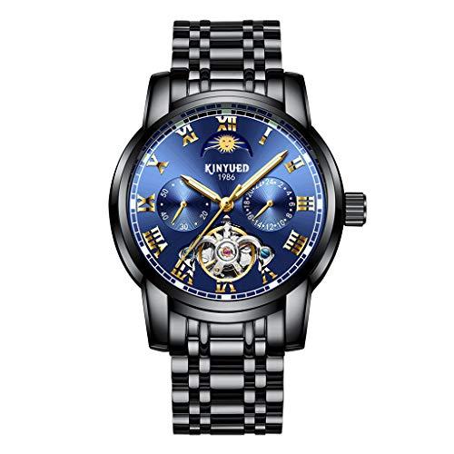 joyMerit Reloj de Pulsera Delicado para Hombre de Moda Reloj de Acero Inoxidable de Moda - Azul Negro