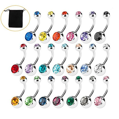Amaza 20pcs Belly Bar Button Rings 20 Colors Double Gem Belly Bar Stainless Steel Body Jewelry Piercing 14 Gauge (1.6mm x 11mm) (Multicoloured)