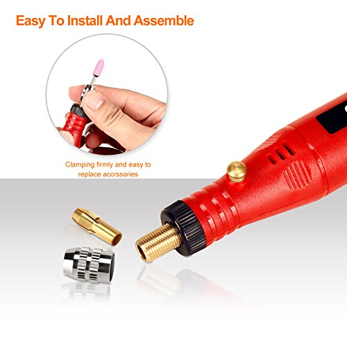 Electric Rotary Tool Kit, SPTA Mini Electric Grinder Set/Nail Drill Mini Handle Electric Drill Grinding Engraving Pen Milling Trimming Polishing Drilling Cutting Engraving Tool 33Pcs Kit
