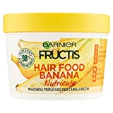 garnier maschera nutriente fructis hair food, maschera disciplinante 3in1 con formula vegana per capelli secchi, banana, 390 ml