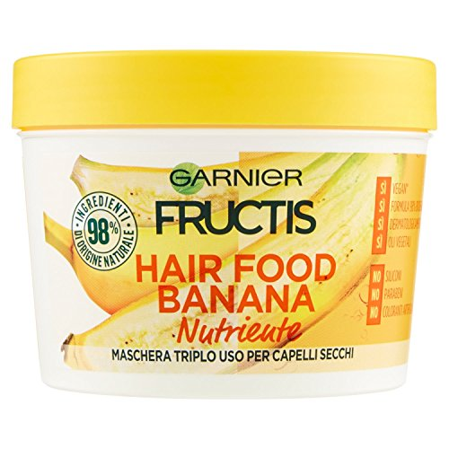 Garnier Fructis Hair Food Banana Maschera Nutriente 3 in 1 con Formula Vegana per Capelli Secchi, 390 ml