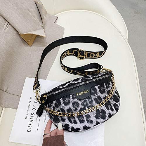 Xpccj Waist Packs Fashion Women Handbag Designer Leopard Print Waist Bag PU Wide shoulder Strap Crossbody Pouch Lady Chest Bags Fanny Pack Women's belt bag (Color : Leopard Black)