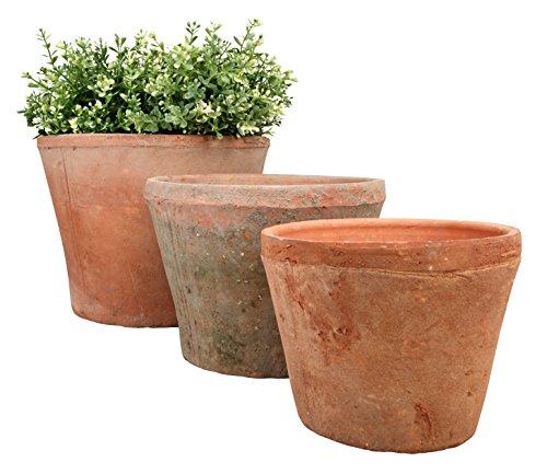 Esschert Design Blumentopf, Übertopf 3er-Set in Aged Terracotta, rund, verschiedene Größen