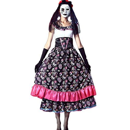 Cosfun Halloween Kostüme Skelett Ghost Braut Brautkleid Zombie Kostüme Nachtfeld DS Bühnenkleid