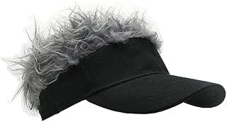 Flair Hair Visor Sun Cap Wig Peaked Novelty Baseball Hat with Spiked Hairs