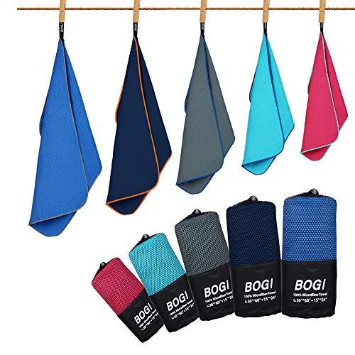 "BOGI Microfiber Sport Travel Towel Set -L: 60"" x 30""+ 24"" x 15""- Quick Dry, Super Absorbent, Non Slip Yoga Towel- for Beach Bath Golf Gym Camp Hiking Baby Pool Large Towel(Dark Blue)"