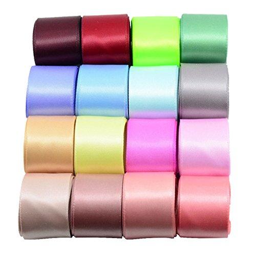 Sharplace 16 Set Colorati a Doppia Faccia Nastro Satinato per Abbigliamento Cuciture Fiocchi di Capelli Corpetto