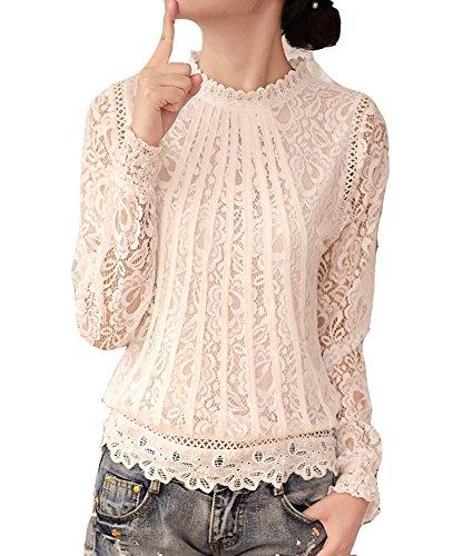 Cheerlife Elegant Damen T-Shirt Spitze Langarmshirt/Kurzarmshirt Spitzenshirt Top Bluse Shirt Tunika Hemd 3XL Weiß-Langarm
