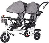 Four-in-one Twin Tricycle for Children, Two-Seater Pedal Bicycle, Stroller with Sunshade, Two-Way Rotating Seat/Removable Rear Push Handle/Retractable Pedals,Color:Purple (Color : Gray)