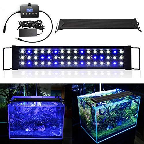 wolketon 12W LED Aquarium Beleuchtung Universal mit LED Aquarium Timer, Aquarium Lampe LED Pflanze mit LED Lichtmodulator,für Reef Coral Fish Wasserpflanzen Aufsetzleuchte