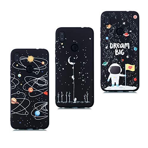 HopMore 3X Kompatibel mit Hüllen Xiaomi Redmi Note 7 / Note 7 PRO Hülle Silikon Schwarz Kreativ Universum Astronaut Muster Stoßfest Schutzhülle Dünn Handyhüllen Silikonhülle Case - Design L