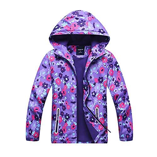 Girls Rain Jackets Lightweight Waterproof Hooded Rain Coats Windbreakers for Kids Purple 4/5