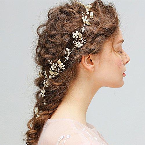 Amorar Kristall Haarkette Flechtfrisur Haarband, Hochzeit Perlen Haarschmuck Kette Hairband Braut Handbuch Haargesteck Haar Zubehör, Gold, 33 cm (Gold),EINWEG Verpackung