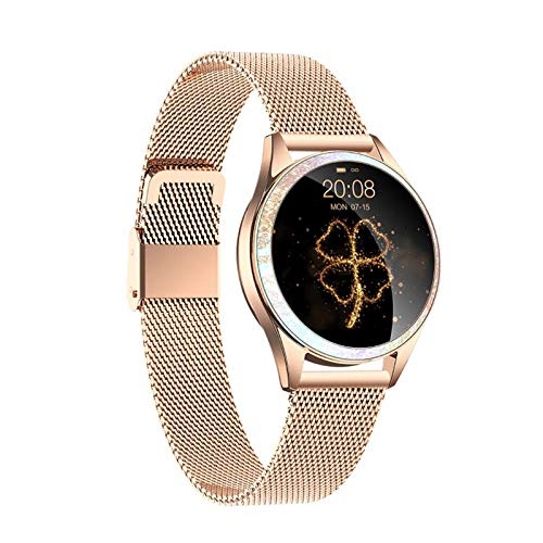 Moligh doll KW20 Smart Watch Damen Herz Frequenz Messer IP68 Wasserdichter Fitness Tracker Damen Physiologische PeriodenüBerwachung Gold