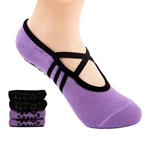 Supstar Calcetines Pilates Yoga Antideslizantes Traspirable Mujer para Barra Ballet Danza (2 Par)(Negro + Rosa)