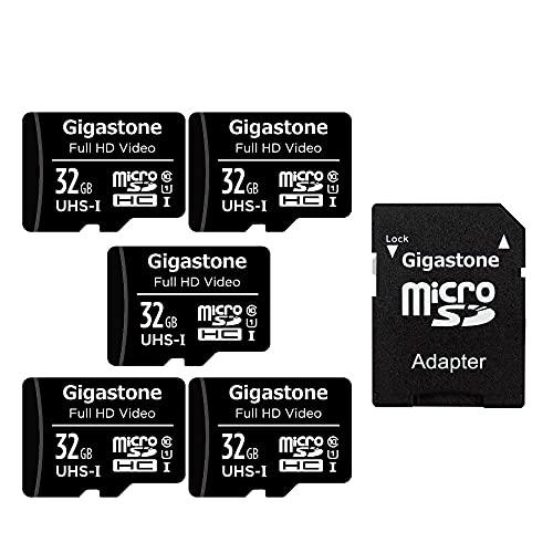 Gigastone Carte Mémoire 32 Go Lot de 5 Cartes, Haute Vitesse de Lecture allant jusqu'à 90 Mo/s. idéal pour Caméra Drone Full HD Vidéo, U1 C10 Micro SDHC UHS-I avec 2 Mini étuis et 1 Adaptateur SD.