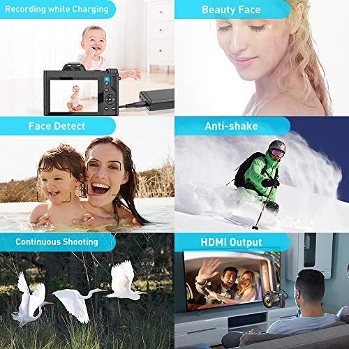 4K Digitalkamera Videokamera Camcorder Ultra HD 48MP WiFi YouTube Vlogging Kamera mit Weitwinkelobjektiv 3,5-Zoll-IPS Touchscreen Kamerarecorder 16-facher Digitalzoom, 2 Akkus