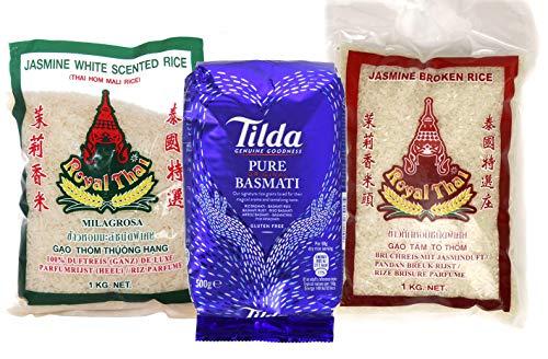 ROYAL THAI Jasmine fragrante di riso 1kg + riso spezzato con profumo di gelsomino 1kg, riso Tilda Basmati 500g
