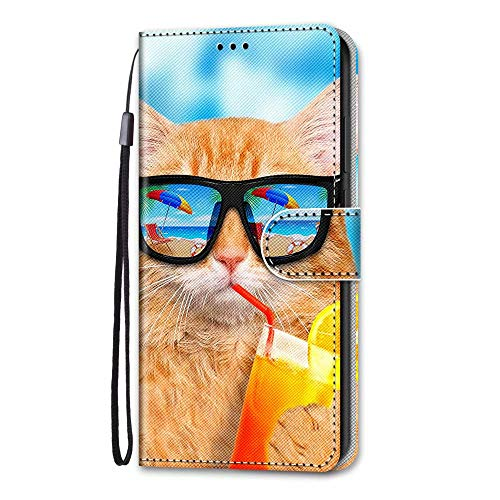 Samsung Galaxy A01 Core Case, 3D Art Shockproof Premium Soft PU Leather Shock-Absorption Notebook Wallet Phone Cases with Kickstand Function Card Holder ID Slot Slim Flip Protective Cover Cool Cat
