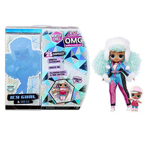 LOL Surprise OMG Winter Chill Muñeca de Moda ICY Gurl y Muñeca Brrr BB con 25 sorpresas