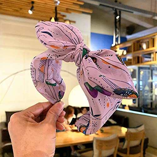 N/A, Diadema con Lazo Floral Dulce, aro para el Pelo, Oreja de Conejo, Diadema Ancha Anudada para Mujeres, niñas, Moda, Tocado Simple style2lightpurple