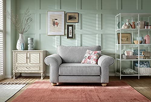 Abakus Direct | Ingrid 3 or 2 Seater Sofa Set, Armchair, Cuddle Chair in Smart Linen Light Grey (Cuddle Chair)