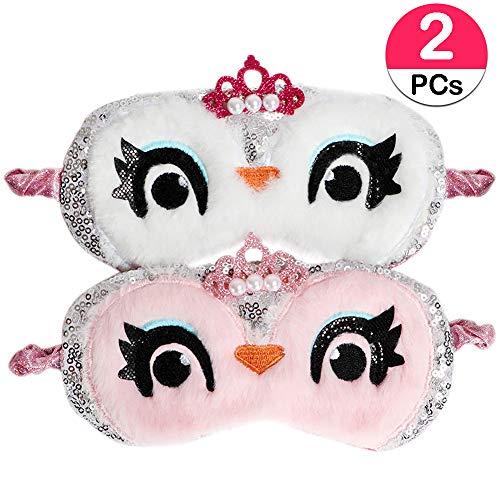JDYW 2 Stück Schlafmaske Augenmaske Süße Eule Weicher Plüsch Augenbinde Augenabdeckung für Mädchen Frauen