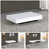 VOLERO' Shopping Online, mesa transformable, modelo Achille XL, mecanismo de salida, parte superior de madera blanca lacada brillante, estructura de acero color plata.