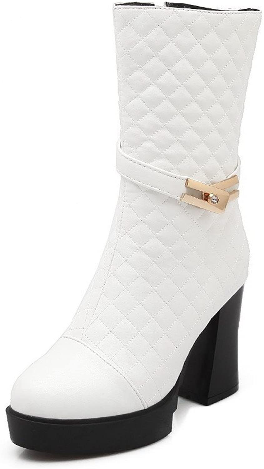 WeenFashion Women's PU High-heels Round-toe Boots with Metal Ornament and Glass Diamond Ornament