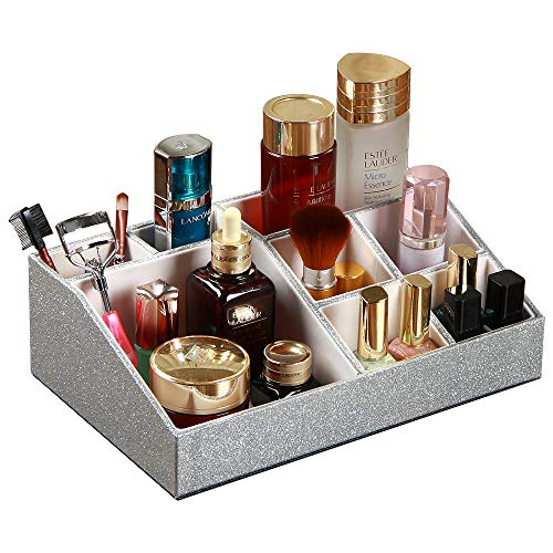PU Leather 8 Compartments Luxury Makeup Organizer Tray Vanity Brush Holder Cosmetic Display Case for Lipstick Jewelry and Skin Care Products, Countertop Bathrrom Dresser Storage Box. (Sliver)