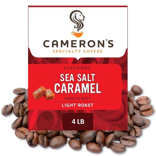Cameron's Coffee Roasted Whole Bean Coffee, Flavored, Sea Salt Caramel, 4 Pound