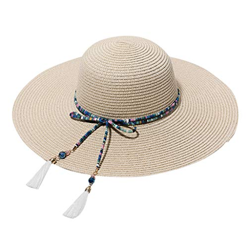Best Deals! KCPer Classic Summer Straw Hat for Women Wide Brim Bow Knot/Floppy Foldable Beaded Sun H...