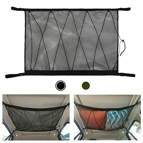 Auto Gepäcknetz Aufbewahrung - Cargo Netz für Auto Decke mit Kordelzug für Vier Dach Armlehnen Speziell für SUV, Double Mesh und Reißverschluss (Schwarz)