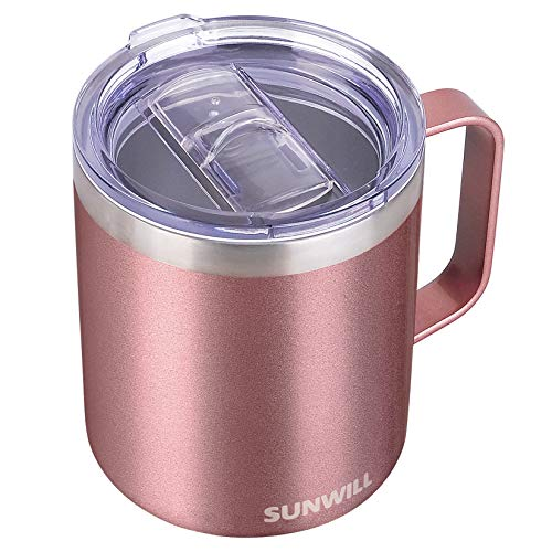 SUNWILL Coffee Mug with Handle, 14oz Insulated Stainless Steel Coffee Travel Mug, Double Wall Vacuum...