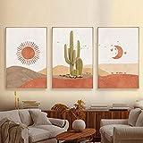 Pintura en Lienzo Paisaje Sol y Luna Escena Boho Impresiones Cactus Arte de la Pared Desierto Imagen de la Pared para la Sala de Estar Decoración del hogar 60x90cmx3 Sin Marco
