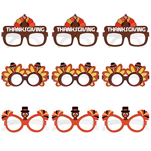 Amosfun Thanksgiving Turkey Sunglasses Creative Thanksgiving Day Eyeglasses Cosplay Party Glasses for Thanksgiving Day Birthday Party Favor Supplies 9PCS