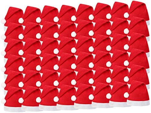 Alsino Weihnachtsmützen 48 Stück (wm-32) ∙ Nikolausmützen für Erwachsene und Kinder ∙ 30 x 40 cm ∙ Reissfest und Dehnbar ∙ Passend für jeden Kopf