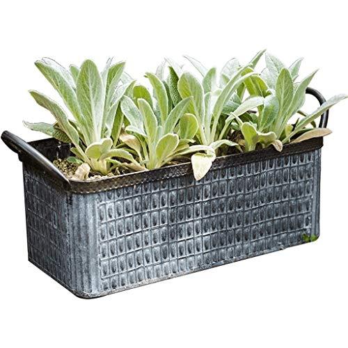 Zunruishop Tuinplantenbak, tin-greep, bloempot, boodschappenmand, decoratie, opbergdozen, kleine gereedschapskist, bloemen-groenten, plant bloempot in de open lucht