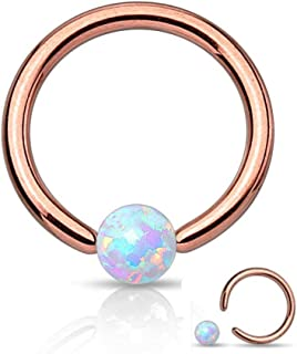16 Gauge Rose Gold Captive Bead Ring Round Synthetic Opal 316L Surgical Steel