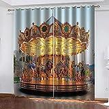 Agvvseso® cortinas opacas personalizadas para sala de estar Carrusel del parque de atracciones Cortinas 3d cortinas de ventana cortinas de artículos para el hogar estereoscópicas 3d (W)140x(H)160 cm
