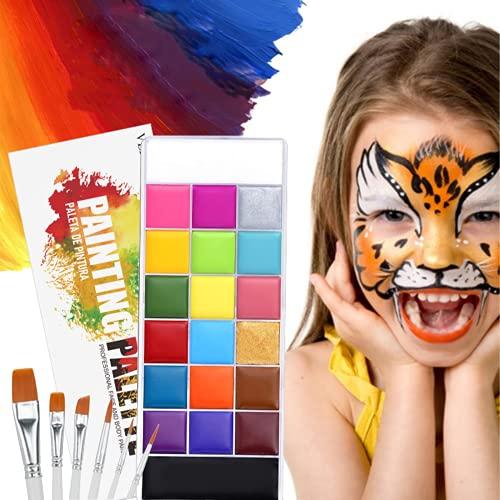 Set de maquillaje para nios de 20 colores, incluye 6 pinceles, adecuado para pintar desde maquillaje de fiesta y ropa de vacaciones.