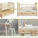 Gitterbett Babybett 2in1 60x120 mit Schublade Schlupfsprossen und Lattenrost Höhenverstellbar Umbaubar zum Juniorbett für Mädchen und Junge - 9
