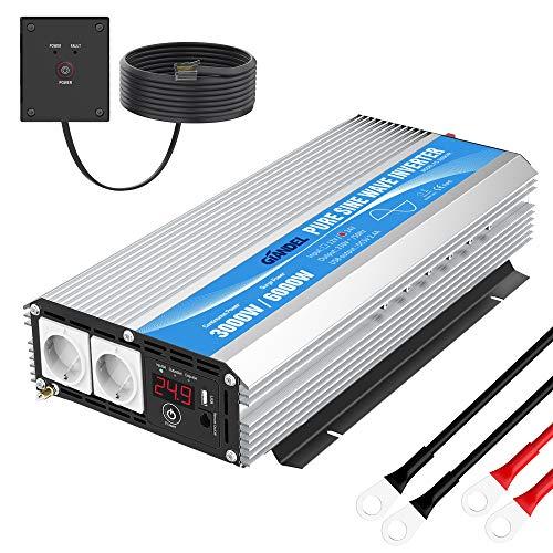 Reiner Sinus Wechselrichter 3000W Spannungswandler 24V 230V Konverter Power Inverter mit Fernbedienung LED-Anzeige & 2 AC-Steckdosen für Wohnmobil-LKW GIANDEL