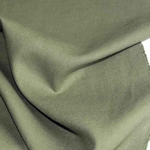 100% Leinen Kleiderstoff/Dekostoff in 26 Farben - als Meterware am Stück (Alt-Grün)