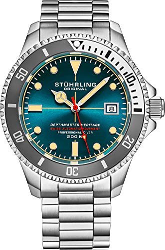 Stuhrling Original Mens Swiss Automatic Stainless Steel Dive Watch, with Adjustable Stainless Steel...
