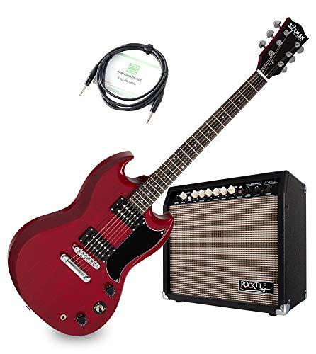 Shaman Element Series DCX-100R E-Gitarre Verstärker Set - Double Cut-Bauweise mit 2 Humbucker -Macassar Griffbrett - 30 Watt Gitarrencombo mit 2 Kanälen - 8