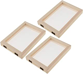 Prettyia Wooden Paper Making Papermaking Mould Frame Screen Mesh Tool Kits for Paper Handcraft DIY Paper Craft, Set of 3Pcs