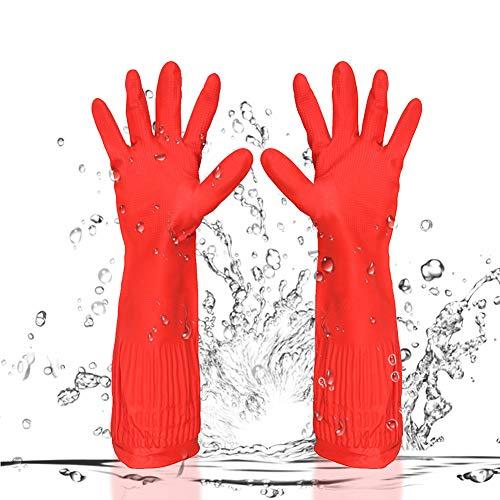 BESLIME Caucho guantes de limpieza - Guantes de látex de Goma, impermeables, reutilizables - Para cocina, jardín, limpieza, 45 cm