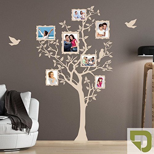 DESIGNSCAPE® Wandtattoo Baum für Fotos mit fliegenden Vögeln 66 x 120 cm (Breite x Höhe) oliv DW807133-S-F100